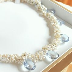 SEYMOUR--Sky Blue Topaz and Cream Keshi Pearl Gold
