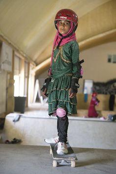 Inspiring Portraits Of The Badass Skate Girls Of Kabul #refinery29  http://www.refinery29.com/skate-girls-kabul#slide-4  Safety has never looked so fierce.