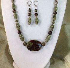 Dragon Blood gemstone necklace set 21 inches