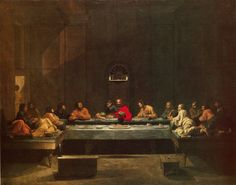 Nicholas Poussin's Last supper painting was what some say was the most historically accurate of the paintings. Click through to the website for record of events of the Last supper from the bible. Original painting is in the National Gallery of Scotland in Edinborough