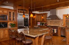 Knotty Pine Kitchen with timber accents in Linville Ridge