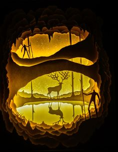 14 back lit paper sculptures by Hari & Deepti