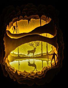 Back in March we posted about the dramatic backlit cut paper sculptures of art duo Hari & Deepti (Harikrishnan Panicker and Deepti Nair). Wood Shadow Box, Shadow Art, Paper Art, Paper Crafts, Paper Light, Cardboard Art, Kirigami, Paper Cutting, New Art