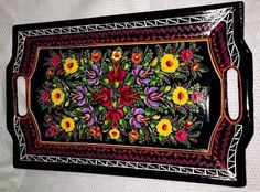 """19"""" Vintage Olinala Lacquer Tray Mexican Folk Art Wood Hand Painted"""