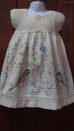 Hand Painted, Hand Crocheted Muslin Dress with Chickadees and Spring Blossoms Baby Girl Crochet, Crochet Baby Clothes, Crochet For Kids, Cute Flower Girl Dresses, Little Girl Dresses, Cute Dresses, Flower Girls, Girls Dresses, Crochet Fabric