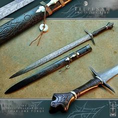 """Telpënár, literal meaning """"Silver Fire"""" in Tolkien's """"Quenya"""" language, is a High-Elven leaf-bladed longsword crafted by David DelaGardelle. Fantasy Sword, Fantasy Weapons, Swords And Daggers, Knives And Swords, Cool Swords, Medieval Weapons, Cool Knives, Arm Armor, Custom Knives"""