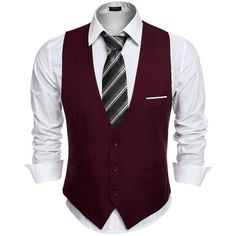 Coofandy Men's V-neck Sleeveless Slim Fit Jacket Casual Suit Vests ($18) ❤ liked on Polyvore featuring men's fashion, men's clothing, men's outerwear and men's vests
