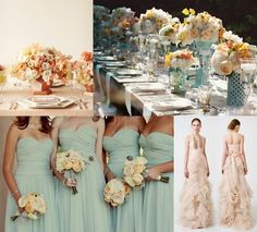 MINT peach - BRIDESMAID DRESS AND TABLE Love the colors!