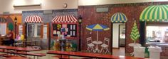 entire wall of the French street cafe scene painted in elementary school cafeteria Cafeteria Design, Cafeteria Decor, Classroom Design, Classroom Themes, French Cafe Decor, School Lunchroom, School Bathroom, School Murals, Parisian Cafe