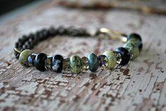 Green Serpentine Beaded Bracelet on a Chain Great by letemendia, $35.00
