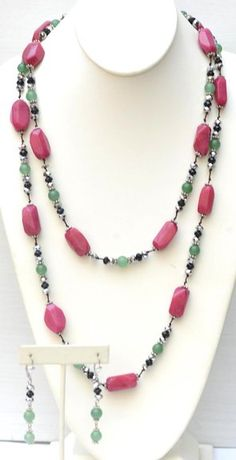 """52"""" Long Necklace with Hand Knotted Semi-Precious Stone and Glass Bead + Matching Earring"""