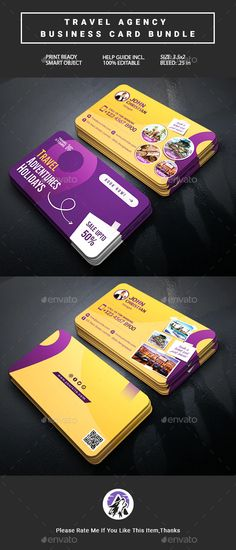 Travel Agency Business Card Bundle 2 in 1 by AlphaDot | GraphicRiver Business Card Psd, Cool Business Cards, Business Card Design, Travel Cards, Page Layout, Travel Agency, Card Templates, 2 In, Card Patterns