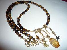 Tiger eye gemstone necklaceGemstone necklace Gold and brown