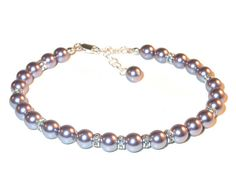 MAUVE Pearl Bracelet Sterling Silver by CharminglyYoursToo on Etsy
