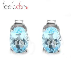 genuine 1.8ct natural sky blue topaz oval earrings stud solid 925 sterling silver women fashion fine hot sales wholesale