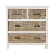 Mobiletto in legno bianco decapato con ante in legno naturale ...