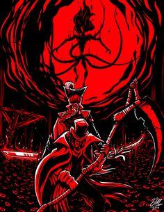 Bloodborne - Gehrman, Maria, and the Moon Presence Dark Blood, Old Blood, Arte Horror, Horror Art, Arte Dark Souls, Soul Saga, Bloodborne Art, Creepy Art, Video Game Art