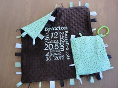 Must have! Personalized Tag Blanket & Crinkle Toy Minky by Crafting4Caleb, $24.00
