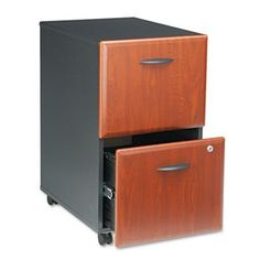 """Mobile Pedestal (F/F) (Assembled) Series A Hansen Cherry by BUSH INDUSTRIES (Catalog Category: Furniture & Accessories / File Cabinets / Pedestal) by Bush. $306.94. Mobile Pedestal (F/F) (Assembled) Series A Hansen Cherry by BUSH INDUSTRIESFully assembled. Freestanding or fit under 30"""" high desks. File drawers accommodate letter/legal size hanging files. Full-extension ball bearing slides allow full access to drawers. Four casters for easy mobility. Key lock. Color: Galaxy; Han..."""