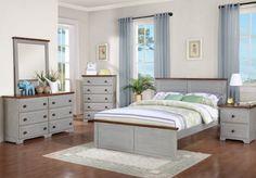 Washed Denim Full Size Bedroom Set - Solid Wood Kids Furniture In Houtson