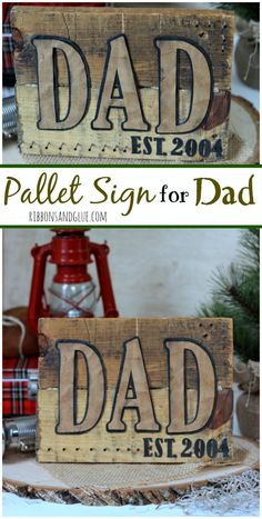 How to make a rustic DIY Pallet Wood Sign for Dad personalized with faux leather paper. Unique Father's Day gift idea for any rustic Dad lover!