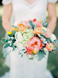 Colorful wedding bouquet: Photography : Elyse Hall Photography Read More on SMP: http://www.stylemepretty.com/little-black-book-blog/2017/02/06/colorful-rustic-diy-arizona-wedding/