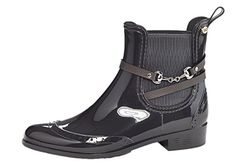 Henry Ferrera Womens Survivor Horsebit Buckle Leather Waterproof Rain Boots  8 BM US Grey ** Check out this great product.(This is an Amazon affiliate link and I receive a commission for the sales)