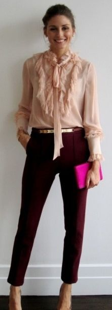 Outfit Posts: outfit posts: pink tie blouse, black cropped pants, purple pumps