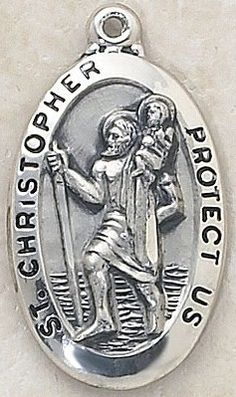"""SAINT CHRISTOPHER MEDAL, Price includes shipping to all fifty states. Solid sterling silver medal, approx. 1-3/8"""" in height. Gift boxed with a complimentary 20"""" stainless steel chain. Carries the Creed lifetime guarantee."""