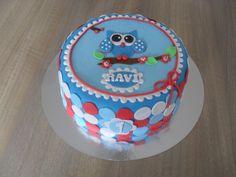 Blauwe uil met stippen taart/ Blue owl with dots cake