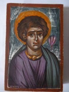 Unknown Saint from Coptic Egypt By Aggeliki Papadomanolaki I Icon, Egypt, Saints, Baseball Cards, Painting, Art, Art Background, Painting Art, Kunst