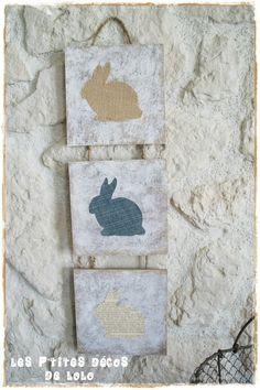 D�co de P�ques Jute-Jean-papier Jauni : un triptyque lapins