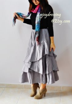 Wave volume love....gray cotton skirt by Enjoydressing on Etsy, $41.00