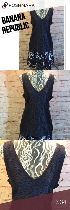 SZ LG BANANA REPUBLIC BLOUSE Beautiful blouse with a bold print and a shimmer in the material. Deep purple with a black background and fully lined. Banana Republic Tops Blouses