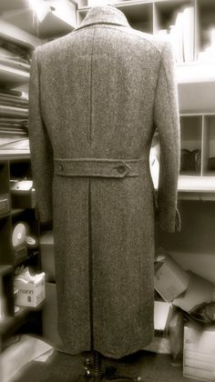 Gieves & Hawkes bespoke tweed herringbone greatcoat