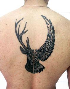 Half Deer And Eagle Mens Back Tattoo In Black Ink