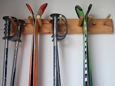 Snow Ski Storage Rack Wall Mount 2 Skis by WillowHeights on Etsy