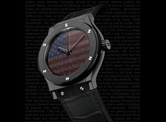 Hublot Liberty Bang is a limited edition watch with only 100 pieces available and made with a 45mm black ceramic case and bezel housing. The back features an image of the American flag made from inspirational words from the Constitution and our founding fathers.
