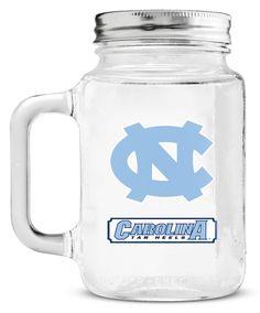 New! North Carolina Tar Heels Mason Jar Glass With Lid #NorthCarolinaTarHeels
