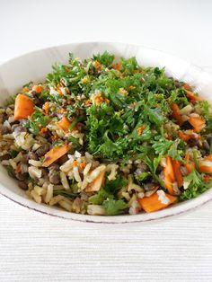 Mis recetas Bio: Ensalada de arroz integral y lentejas con curry.