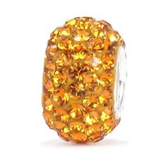 Bella Fascini Golden Topaz Crystal Pave Sparkle Bling - Solid .925 Sterling Silver Core European Charm Bead Made with Authentic Swarovski Crystals - Compatible Brand Bracelets : Authentic Pandora, Chamilia, Moress, Troll, Ohm, Zable, Biagi, Kay's Charmed Memories, Kohl's, Persona & more!