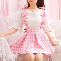 "Sweet bowknot grid braces skirt SE9854      Coupon code ""cutekawaii"" for 10% off"