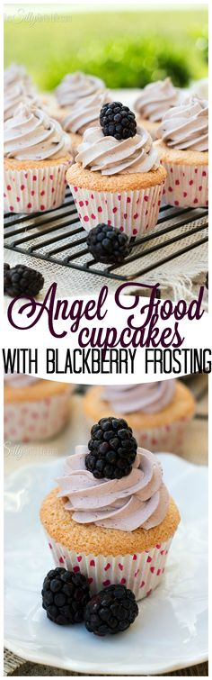 Angel Food Cupcakes with Blackberry Frosting, the lightest, airiest from scratch angel food cupcakes with sinfully sweet and smooth blackberry frosting. Hello, Summer! - ThisSillyGirlsLife.com