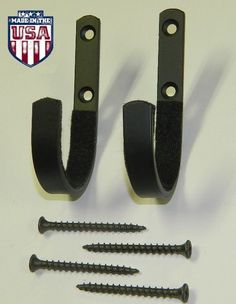 Wall Mount Gun Rack Hooks Shotgun Bow Rifle Hangers Felt Lined - One Set (2)
