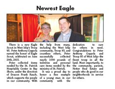 There is a new Eagle Scout in West Islip's Troop 95.  Netter Real Estate participated in the project by providing use of the Netter Real Estate Truck for distribution of the products Peter Coppola collected.http://blog.netterrealestate.com/2015/07/07/netter-real-estate-congratulates-the-newest-eagle-in-west-islip-ny/   Click on this link to read the article on line: http://issuu.com/neighbornews/docs/west_islip_070115_4_flats/1?e=5760314/13842030