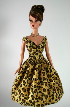 Animal Print Dress and Stole for Barbie by ChicBarbieDesigns