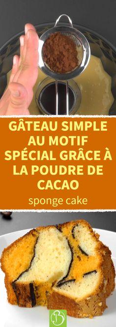 Vous voulez faire un gâteau rapide et simple qui attire tout de même l'attention ? Vous êtes au bon endroit. Il suffit d'avoir les ingrédients habituels pour un sponge cake et un peu de cacao en poudre. Avec la technique de superposition suivante, votre gâteau aura l'air d'un véritable chef-d'œuvre. #spongecake #motif #cacao Mini Desserts, Pumpkin Cinnamon Rolls, Sponge Cake, Banana Bread, Cheesecake, Yummy Food, Sweets, Homemade, Baking