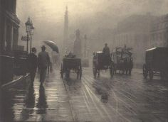 Leonard Misonne :: London, 1899 / Reframing the Victorians: The Ghost of Mud or a Poetic Veil? Fog in Victorian London Victorian London, Vintage London, Old London, London 1800, London Rain, Victorian Era, 19th Century London, Mid Century, London History