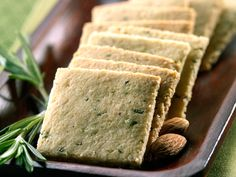 The Almond Board asked me to create a cracker recipe for them so I have developed these wonderfully flavorful Rosemary Crackers made of almond flour.  They are delicious paired with olive tapenade or any soft spreadable cheese for a cocktail party. For a simple snack eat with cheddar or jack cheese.  Enjoy!