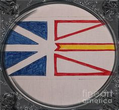 Newfoundland Flag - Porthole Vignette by Barbara Griffin. This vintage Newfoundland image is a drawing on fabric of the Flag of Newfoundland.